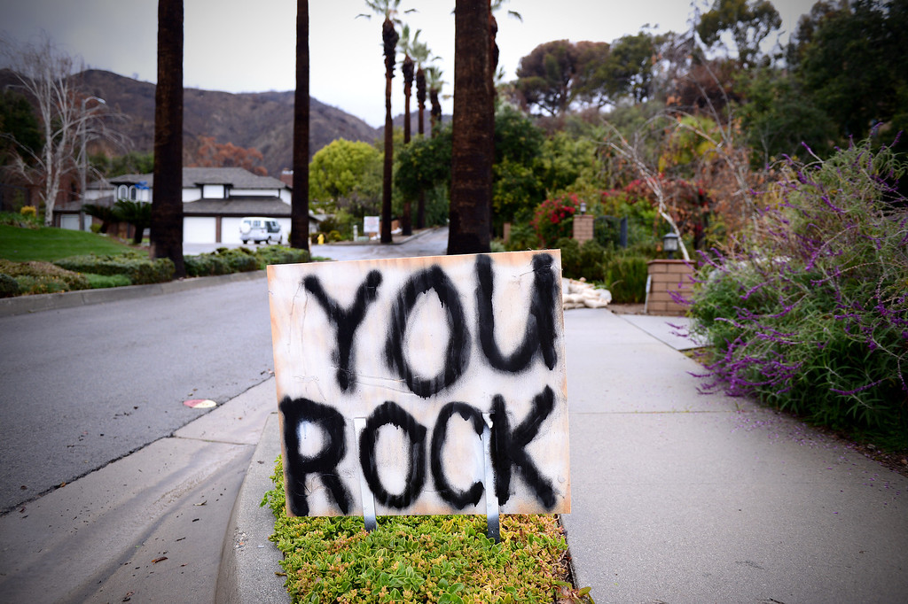 ". The storm is not over but the ""Thank yous\"" have begun in Glendora Saturday, March 1, 2014 below the Colby Fire burn area. (Photo by Sarah Reingewirtz/Pasadena Star-News)"