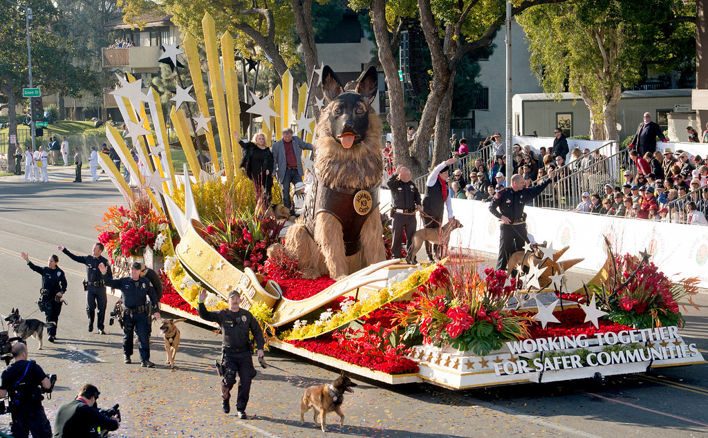 ". K9S4COPS ""Working Together for Safer Communities\"" float during 2014 Rose Parade in Pasadena, Calif. on January 1, 2014. (Staff photo by Leo Jarzomb/ Pasadena Star-News)"