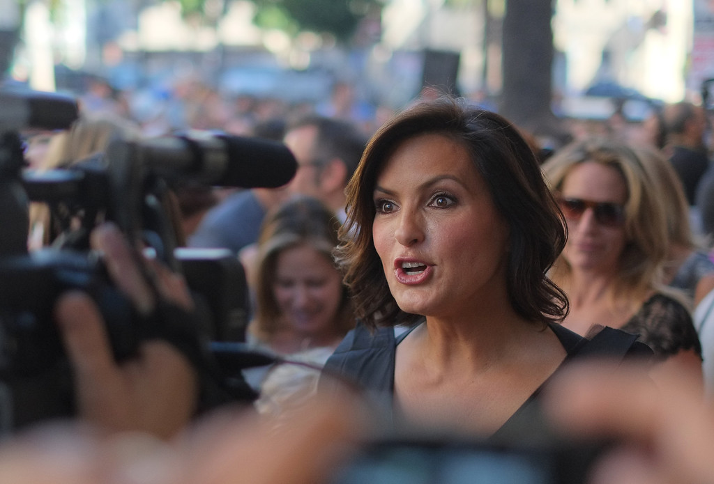 . Actress Mariska Hargitay speaks to journalists as she attends a ceremony honoring her with a star on the Hollywood Walk of Fame on November 8, 2013 in Hollywood, California.        (JOE KLAMAR/AFP/Getty Images)