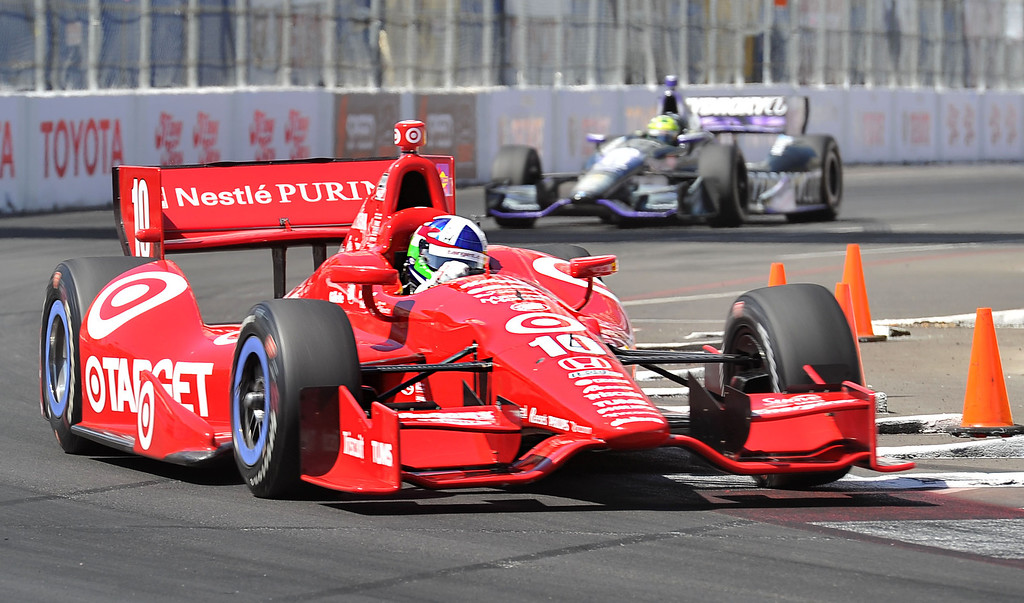 . 04/20/13 -Dario  Franchitti, Target Chip Ganassi Racing, finishes with the fastest time for the IZOD Indy qualifying round, at the 39th Annual Toyota Grand Prix of Long Beach. Photo by Brittany Murray / Staff Photographer