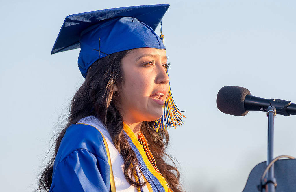 . Breanne Padilla speaks during California High graduation at their Whittier campus stadium June 13, 2013.   (SGVN staff photo by Leo Jarzomb)