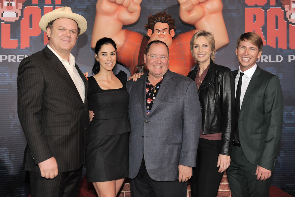 ". From left, John C. Reilly, Sarah Silverman, John Lasseter, Jane Lynch and Jack McBrayer arrive at the world premiere of ""Wreck-It Ralph\"" at El Capitan Theatre on Monday, Oct. 29, 2012, in Los Angeles. (Photo by Jordan Strauss/Invision/AP)"