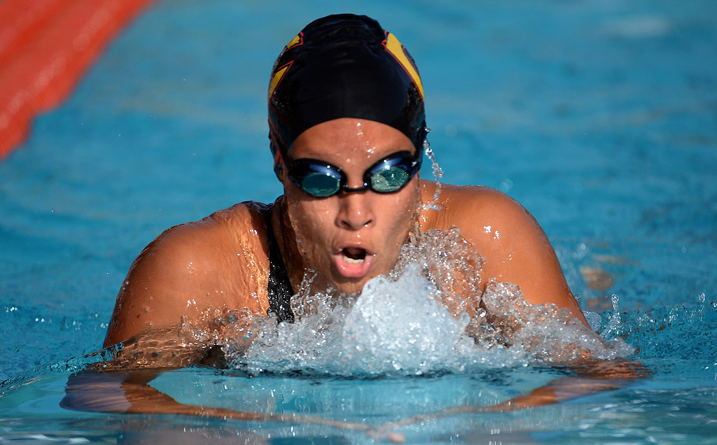. Cerritos\'s Kiri Harvey wins the 200 IM during the Division 4 CIF Southern Section Swimming Championships in the Riverside Aquatics Complex at Riverside City College in Riverside, Calif., on Friday, May 16, 2014.  (Keith Birmingham/Pasadena Star-News)