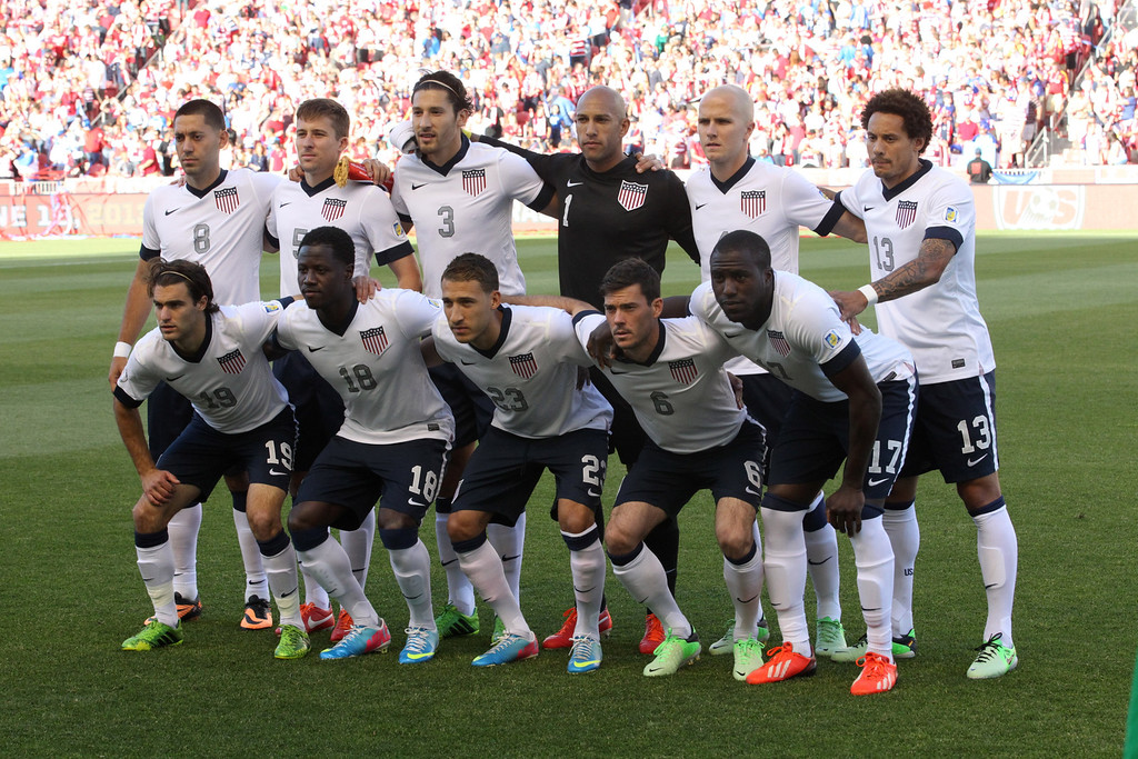. The U.S. national soccer team poses for the traditional team photo prior to a World Cup qualifier soccer match, at Rio Tinto Stadium on Tuesday, June 18, 2013, in Sandy, Utah.  (AP Photo/Rick Bowmer)