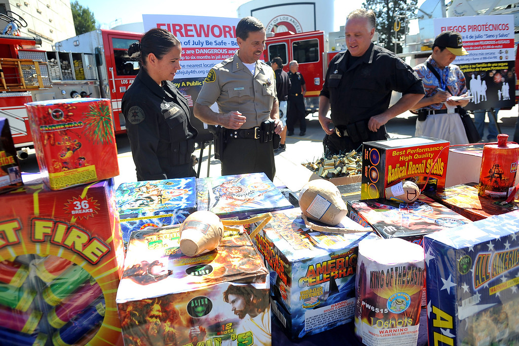 . Fireworks are displayed during an LAFD news conference regarding the use of fireworks as the 4th of July holiday approaches.  Fire and law enforcement officials are encouraging families to attend a professional fireworks show to reduce fires and injuries.(Andy Holzman/Los Angeles Daily News)