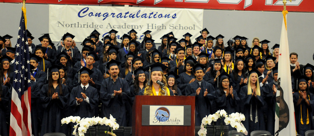 . Salutatorian Bronte Schmit talks to the audience at the Northridge Academy High School graduation ceremony on Thursday, June 5, 2014. (Photo by Dean Musgrove/Los Angeles Daily News)