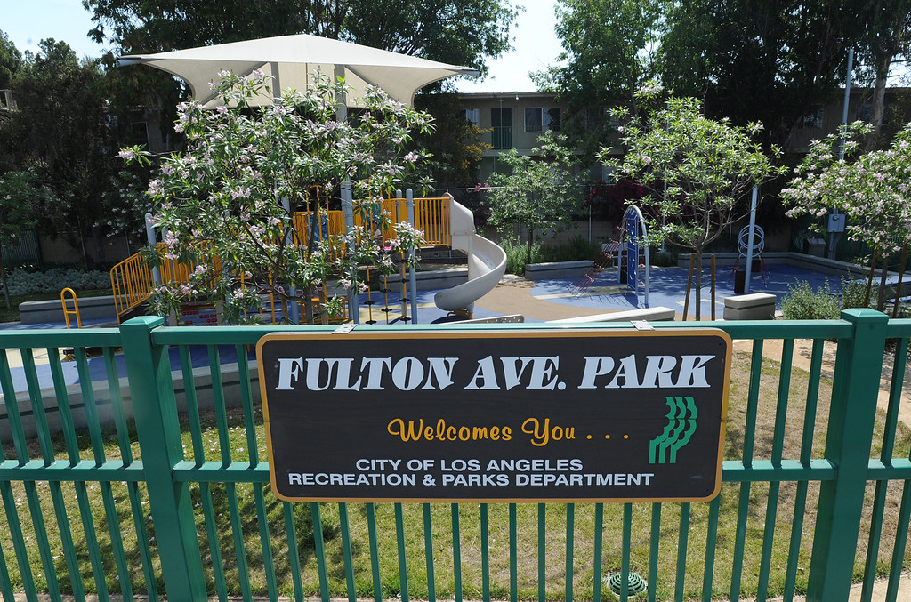 . Fulton Ave. Park is located on Fulton Avenue north of Vanowen. A new Park Score survey done by the Trust For Public Land that ranks LA 45th out of 60 cities in the country in terms of parks, accessibility, maintenance and acreage. North Hollywood. CA. 5/29/2014(Photo by John McCoy / Los Angeles Daily News)