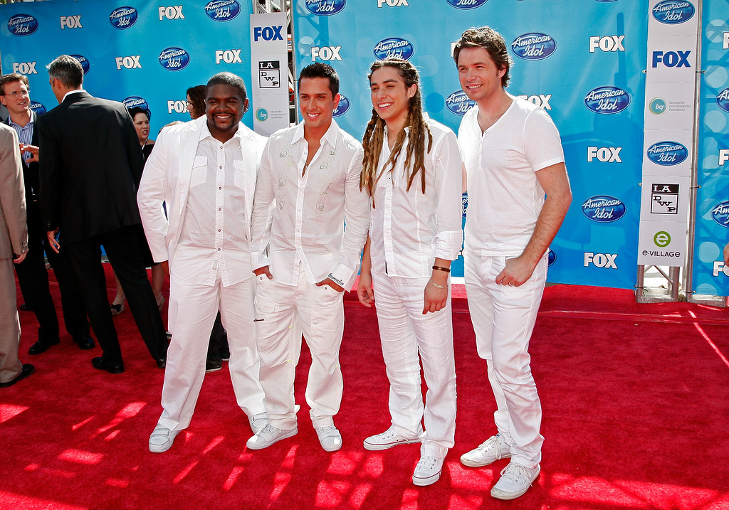 . (L-R) Season 7 Idol contestants Chikezie, David Hernandez, Jason Castro, and Michael Johns arrive at the American Idol Season 7 Grand Finale held at the Nokia Theatre on May 21, 2008 in Los Angeles, California.  (Photo by Kevin Winter/Getty Images)