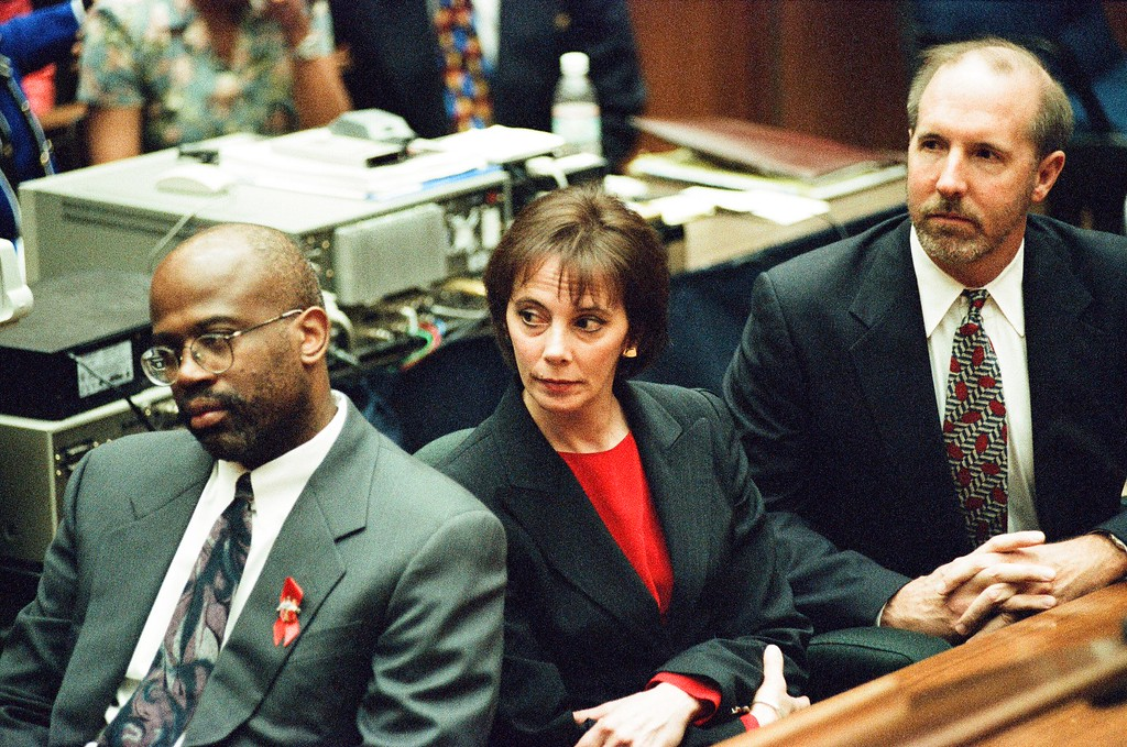 . This Oct. 3, 1995 file photo shows the prosecutors of the O.J. Simpson trial,  Simpson was found not guilty of murdering his ex-wife Nicole Brown Simpson and her friend Ron Goldman at the Criminal Courts Building in Los Angeles. (Los Angeles Daily News file photo)