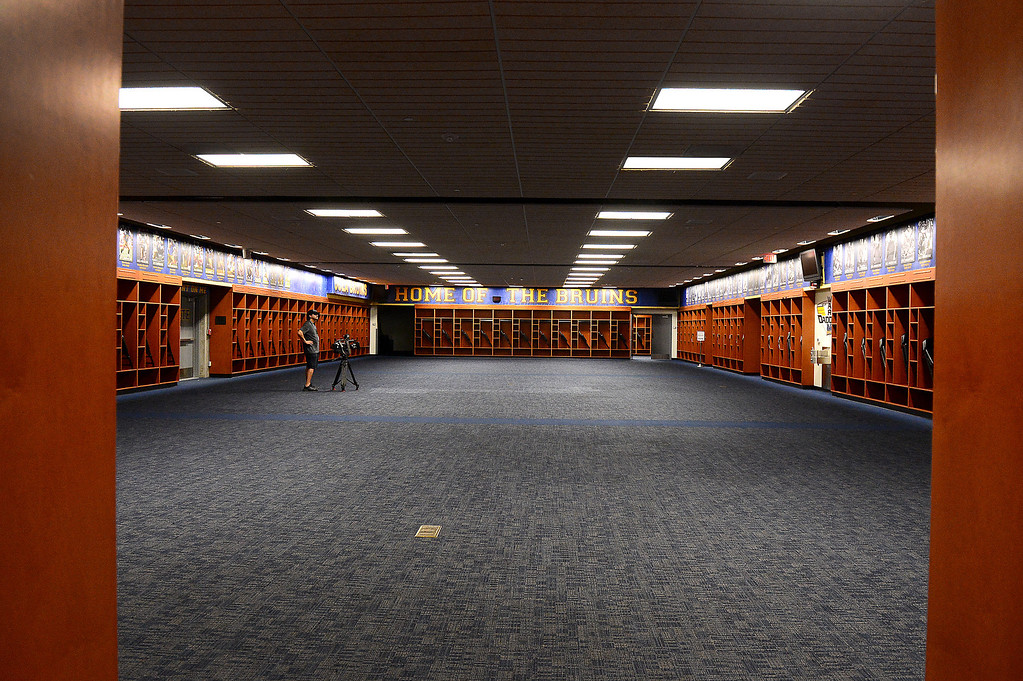 . The UCLA locker room at the Rose Bowl is seen Thursday, June 20, 2013 in advance of the historic stadium\'s first public tours, which begin Saturday. (SGVN/Staff Photo by Sarah Reingewirtz)