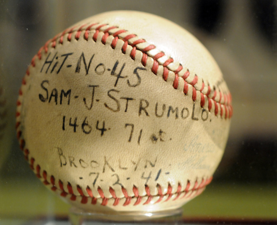 """. The baseball from Joe DiMaggio\'s record breaking hit #45 in 1941 is included in the \""""Baseball!\"""" exhibit. The Exhibition opens April 4, 2014 at the Ronald Reagan Presidential Library and Museum.  Running through September 4, 2014, Baseball is a 12,000 square foot exhibition featuring over 700 artifacts, including some of the rarest, historic and iconic baseball memorabilia.  (Photo by Dean Musgrove/Staff Photographer)"""