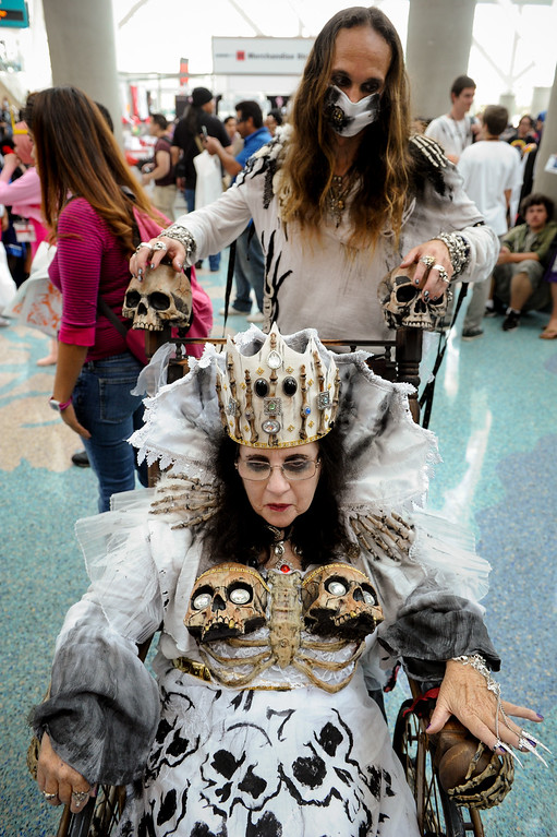 . Sharon Heimberger is dressed as the Queen of Death with her son Travis Heimberger as the servant at the Anime Expo at the L.A. Convention Center, Saturday, July 6, 2013. (Michael Owen Baker/L.A. Daily News)