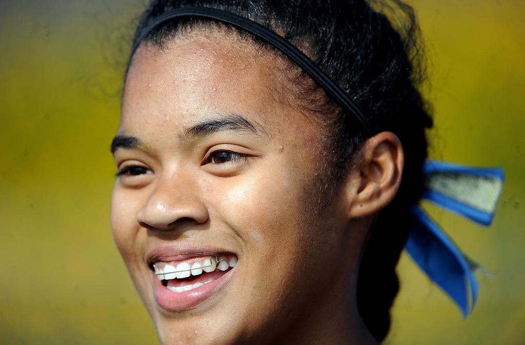 . Walnut\'s Kayla Richardson wins the 100 meter dash during the Hacienda League track finals in Walnut, Calif., on Thursday, May 8, 2014.  (Keith Birmingham Pasadena Star-News)