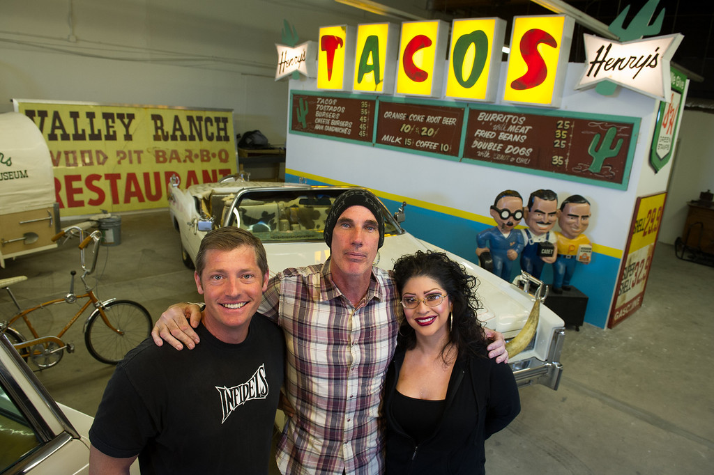 . Tommy Gelinas, center, owner of the Valley Relics Museum in Chatsworth, with volunteers Shane Stewart and Melissa Christina. (Photo by Michael Owen Baker/L.A. Daily News)