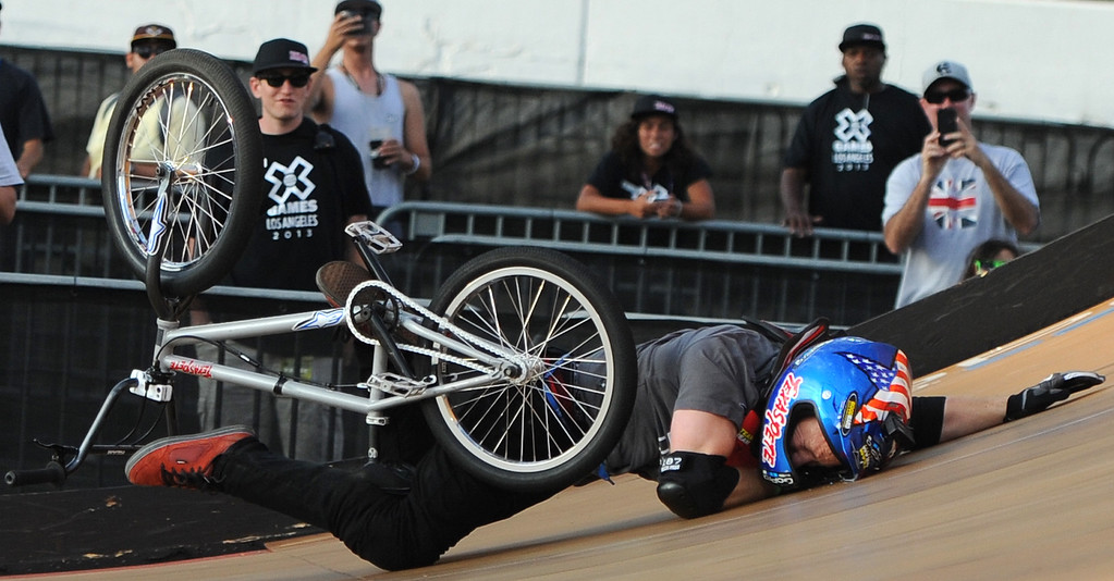. Chad Kagy crashes finishing fourth during the GoPro BMX Big Air Final at Irwindale Speedway on Friday, Aug. 2, 2013 in Irwindale, Calif. Morgan Wade won the gold medal.