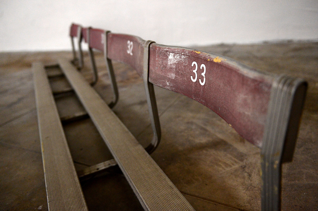 . Vintage seats are seen in the original locker room of the Rose Bowl Stadium Thursday, June 20, 2013 in advance of the historic stadium\'s first public tours, which begin Saturday. (SGVN/Staff Photo by Sarah Reingewirtz)