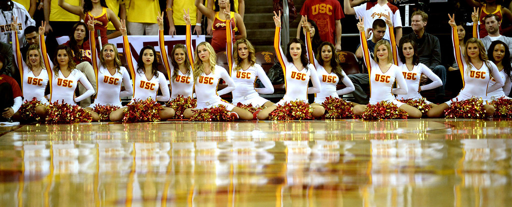 . Southern California cheerleaders in the second half of a PAC-12 NCAA basketball game between UCLA and Southern California at Galen Center in Los Angeles, Calif., on Saturday, Feb. 8, 2014. UCLA won 83-73. (Keith Birmingham Pasadena Star-News)