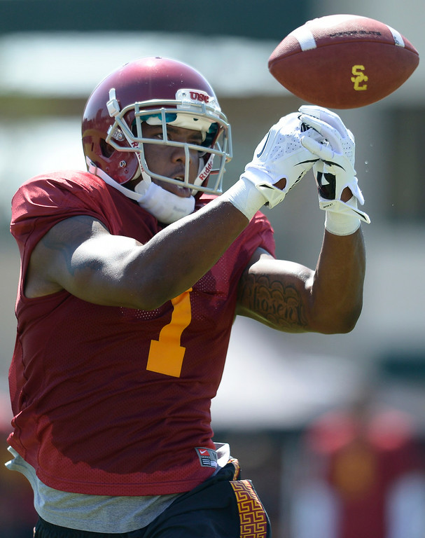 . Darreus Rogers bobbles the ball. Football practice is in full swing on the Howard Jones Field at USC. Los Angeles, CA. 8/6/2014(Photo by John McCoy Daily News)