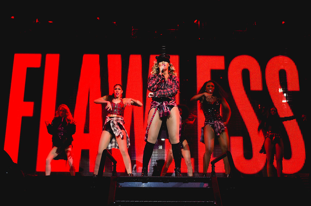 """. Beyonce performs onstage on her  \""""Mrs. Carter Show World Tour 2014,\"""" at the Phones 4u Arena in Manchester, United Kingdom on Tuesday, Feb. 25, 2014. (Photo by Rob Hoffman/Parkwood Entertainment/PictureGroup)"""