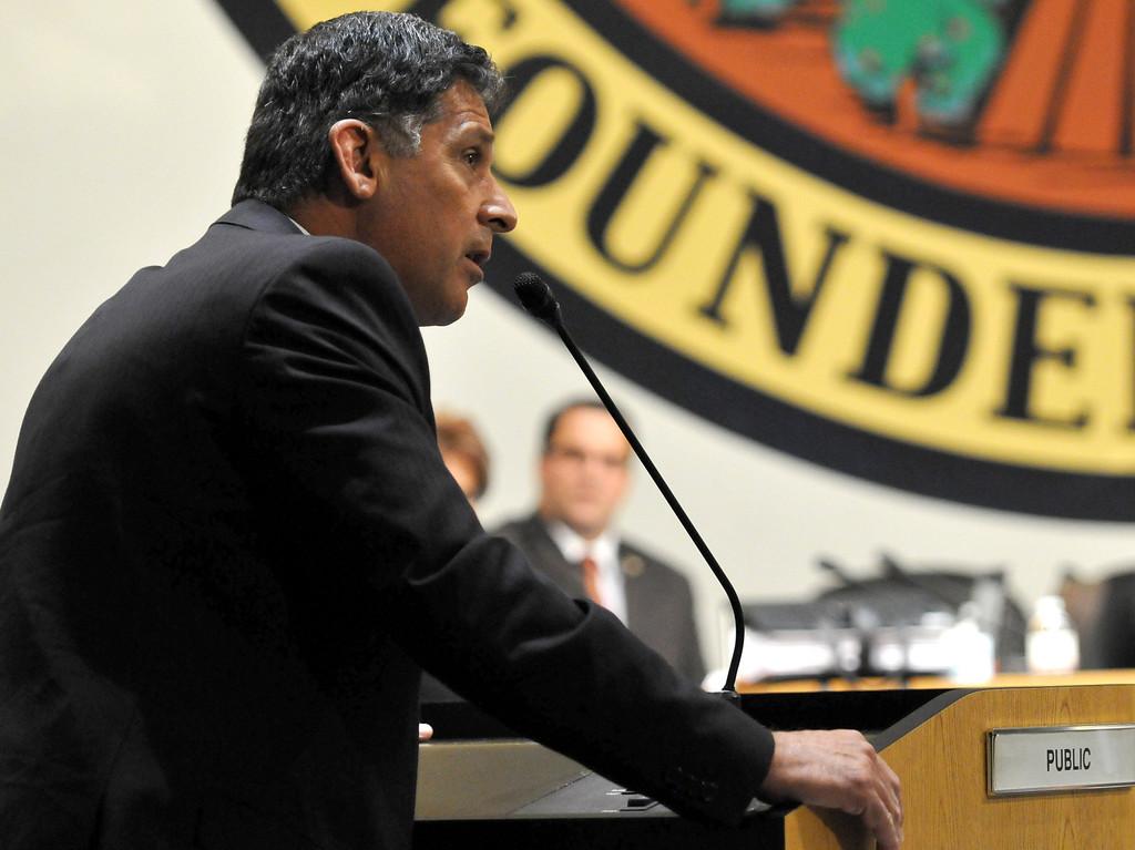 . (John Valenzuela/ Staff Photographer) San Bernardino Mayoral candidate Richard Chavez speaks during public comment at Monday\'s San Bernardino City Council meeting at City Hall, Oct. 20, 2013.