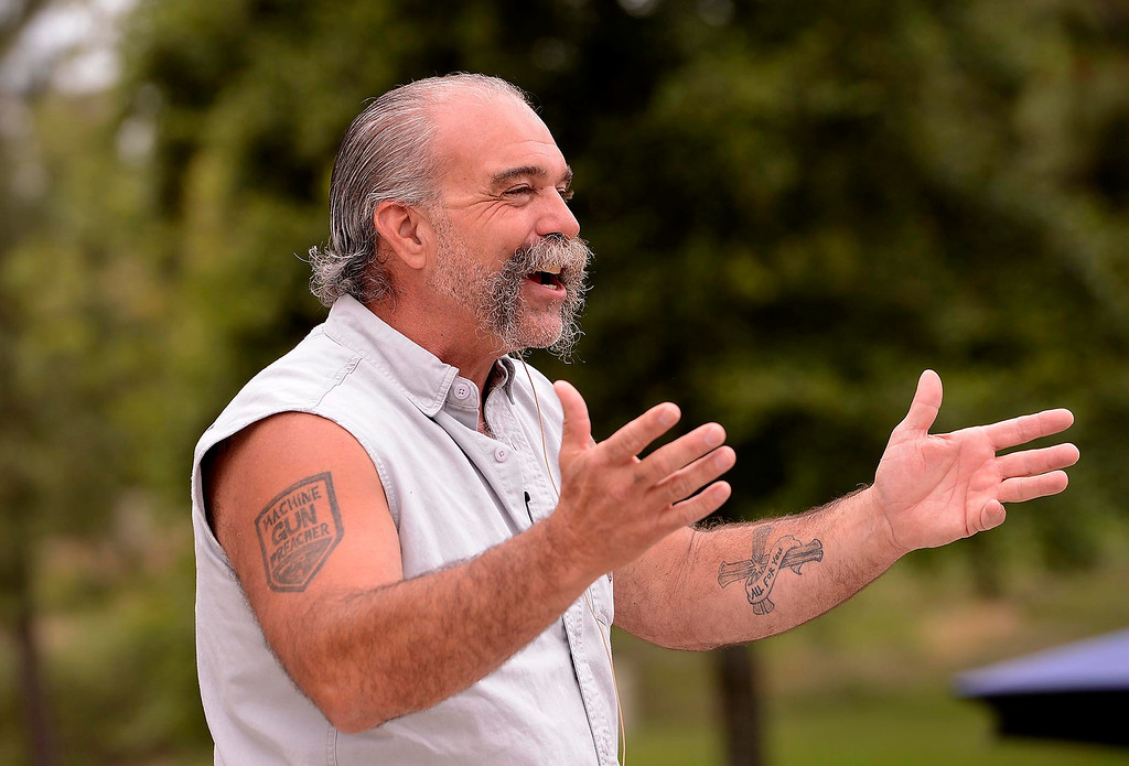 """. �I\'m different from any other missionary that you\'ll ever meet,\""""  said Sam Childers to a crowd during the Lifepoint Church\'s Picnic at Red Hill Community Park in Rancho Cucamonga May 5, 2013.  GABRIEL LUIS ACOSTA/STAFF PHOTOGRAPHER."""
