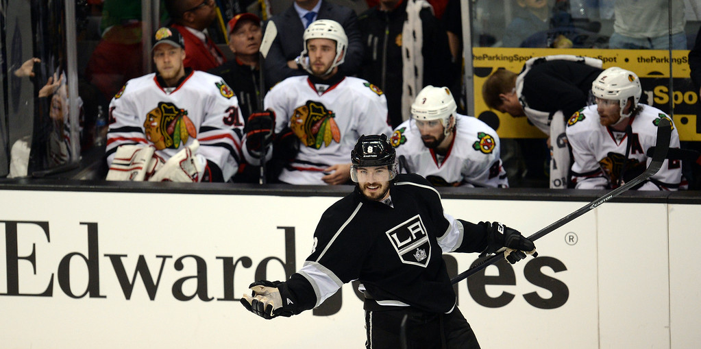 . The Kings� Drew Doughty #8 reacts after scoring a third period goal during Game 3 of the Western Conference finals against the Blackhawks at the Staples Center on Saturday, May 24, 2014. The Kings beat the Blackhawks 4-3. (Photo by Hans Gutknecht/Los Angeles Daily News)