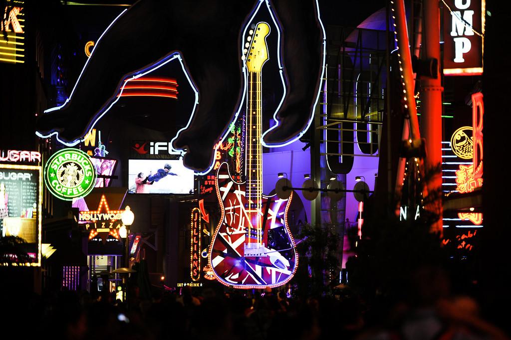 . Neon lights up Universal CityWalk. Friday, July 6, 2013. (Michael Owen Baker/L.A. Daily News)