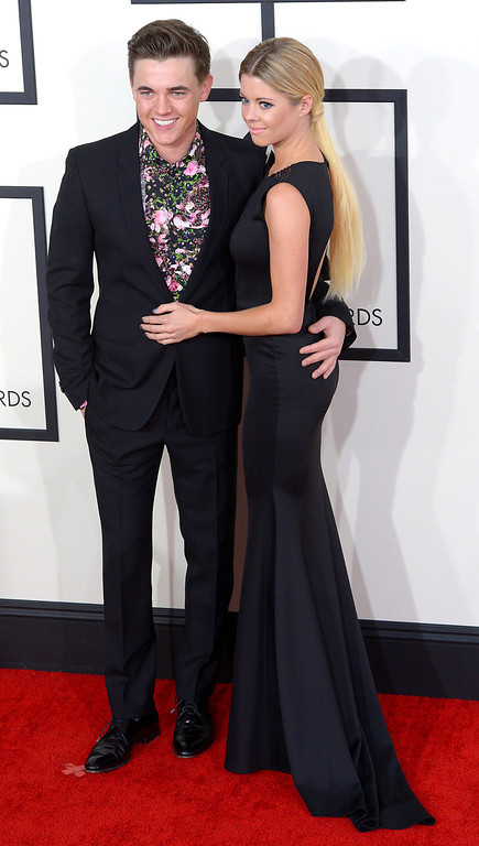 . Jesse McCartney and Katie Petersen arrive at the 56th Annual GRAMMY Awards at Staples Center in Los Angeles, California on Sunday January 26, 2014 (Photo by David Crane / Los Angeles Daily News)