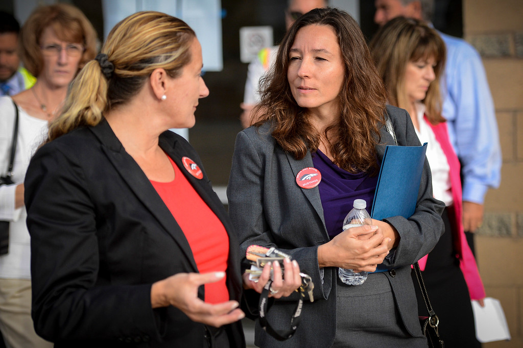 . Arleta high principal Sandra Gephart, left, gives newly elected LAUSD school board member Monica Ratliff a tour of her high school before the start of school.  Tuesday is the first day of school for the Los Angeles Unified School District. Photo by David Crane/Los Angeles Daily News