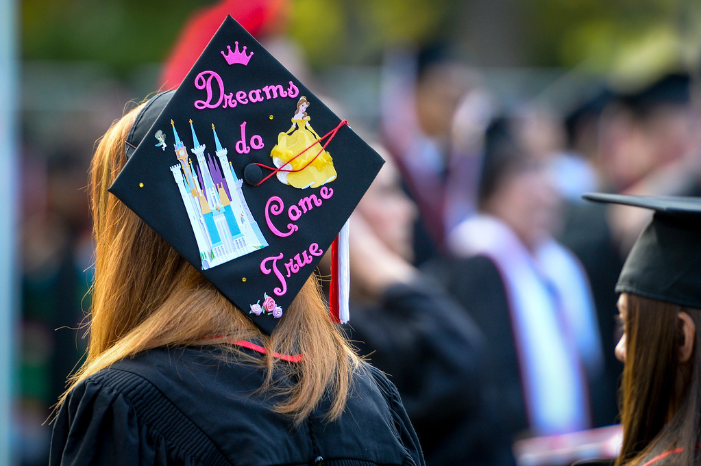 . CSUN grads line up for graduation ceremonies at Cal State Northridge Monday, May 19, 2014.  ( Photo by David Crane/Los Angeles Daily News )