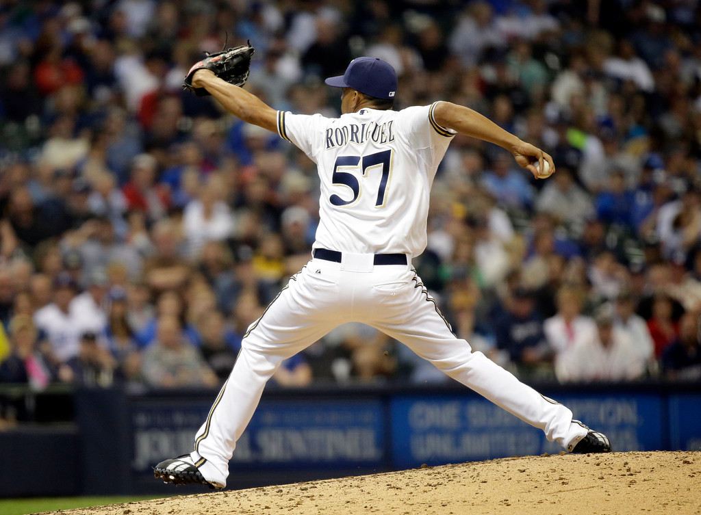 . Milwaukee Brewers relief pitcher Francisco Rodriguez throws during the eighth inning of a baseball game against the Los Angeles Dodgers Wednesday, May 22, 2013, in Milwaukee. (AP Photo/Morry Gash)
