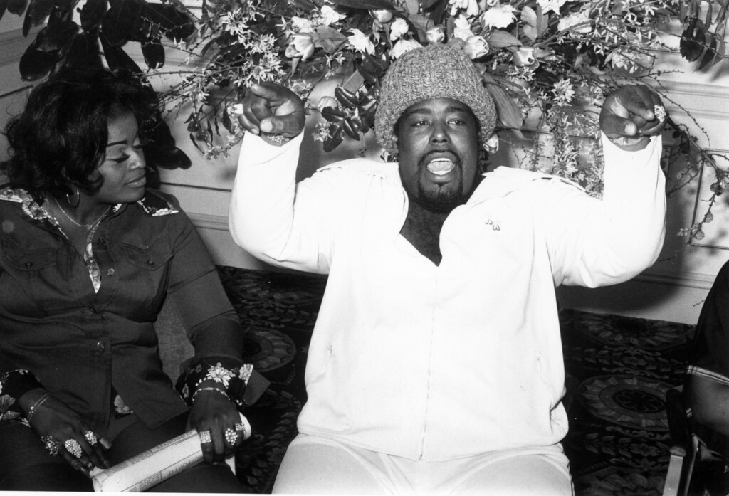 . American \'love-god\' soul singer Barry White (1944 - 2003) talking to press during a tour.   (Photo by Malcolm Clarke/Getty Images)