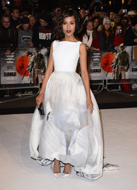 """. LONDON, ENGLAND - JANUARY 10:  Actress Kerry Washington attends the UK Premiere of \""""Django Unchained\"""" at the Empire Leicester Square on January 10, 2013 in London, England.  (Photo by Ian Gavan/Getty Images)"""