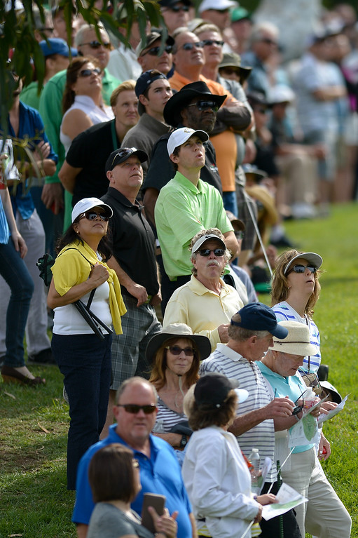 . The gallery watches from the sixth hole during the third round of the Northern Trust Open, Saturday, February 15, 2014, at Riviera Country Club. (Photo by Michael Owen Baker/L.A. Daily News)