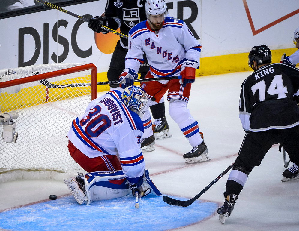 . Kings Dwight King almost got this shot past RangersHenrik Lundqvist during third period action at Game 1 of the Stanley cup Finals at Staples Center Wednesday, June 4, 2014 ( Photo by David Crane/Los Angeles Daily News )