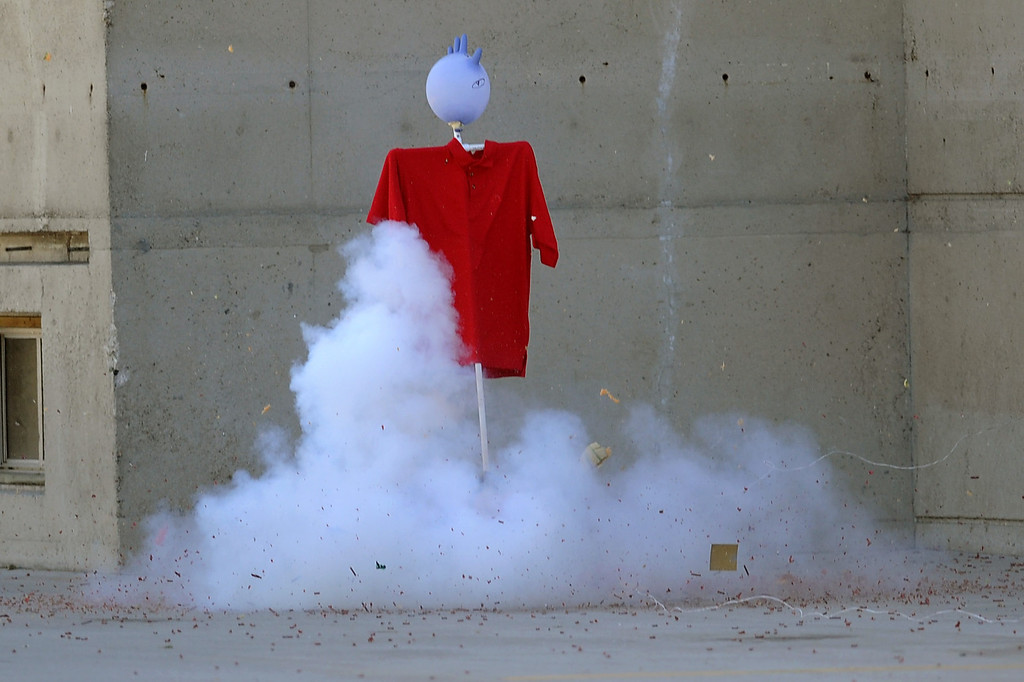 . An M-80 is detonated following an LAFD news conference regarding the use of fireworks as the 4th of July holiday approaches.  Fire and law enforcement officials are encouraging families to attend a professional fireworks show to reduce fires and injuries.(Andy Holzman/Los Angeles Daily News)