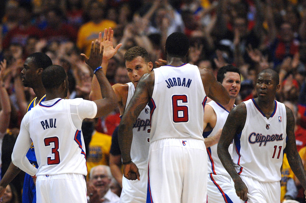 . The Clippers\' Blake Griffin is congratulated after a bucket in the fourth quarter in game seven of the Western Conference playoffs, Saturday, May 3, 2014, at Staples Center. (Photo by Michael Owen Baker/L.A. Daily News)