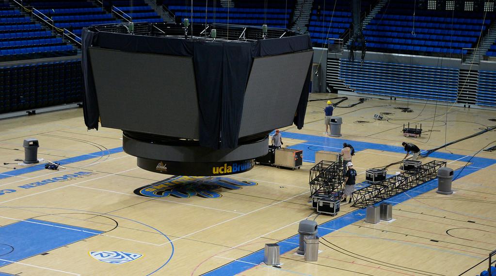. Aug 3,2014, 2014, Westwood. The Teen Choice Sports Awards show that was to be at UCLA pauley pavilion is now move to the Shrive. TV production crews work on braking down equipment from the show to be taken over to the Shrive, as repairs continue from the flooding damage to UCLA. Photo by Gene Blevins/LA DailyNews