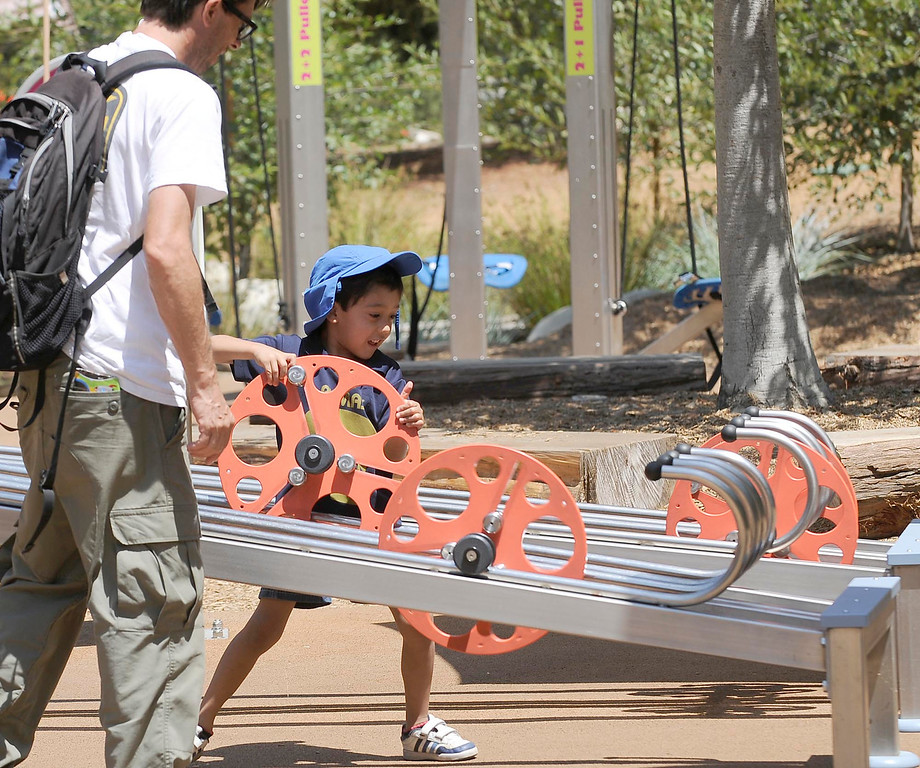 . It\'s the one year anniversary of the Galvin Physics Forest at the Kidspace Museum in Pasadena. The museum is commemorating the exhibit\'s one year mark with a three day celebration open to the public.CA. 7/13/2013(John McCoy/LA Daily News)