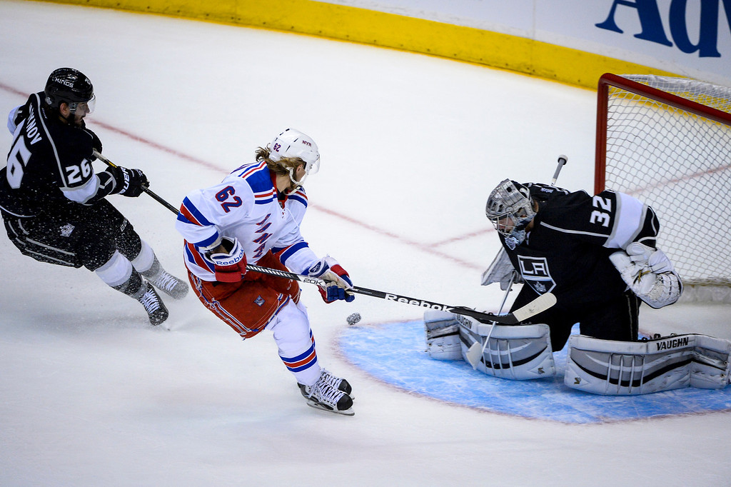 . Rangers Carl Hagelin scores on Kings Jonathan Quick during first period action during Game 1 of the Stanley Cup Finals at Staples Center Wednesday, June 4, 2014 ( Photo by David Crane/Los Angeles Daily News )