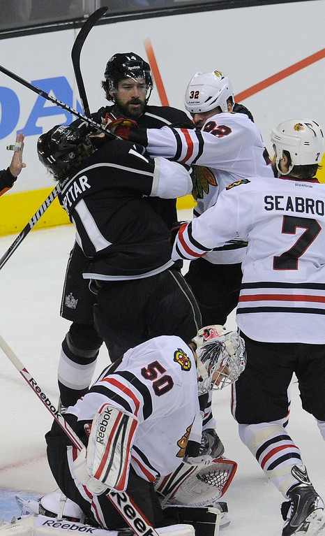 . A bit of a tussle erupts near the Blackhawks goal in the first half. The Kings played the Chicago Blackhawks in the 3rd game of the Western Conference Finals. Los Angeles, CA 6/4/2013(John McCoy/LA Daily News4