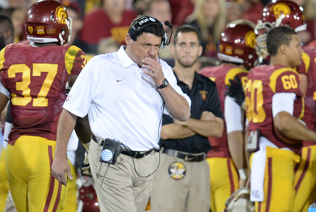 . USC�s Interim Head Coach Ed Orgeron during their game against UCLA  at the Los Angeles Memorial Coliseum Saturday, November 30, 2013.  (Photo by Hans Gutknecht/Los Angeles Daily News)