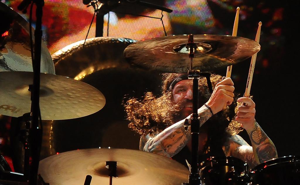 . Black Sabbath drummer Tommy Clufetos performs at the Verizon Wireless Amphitheatre on Wednesday, Aug. 28, 2013 in Irvine, Calif.   (Keith Birmingham/Pasadena Star-News)