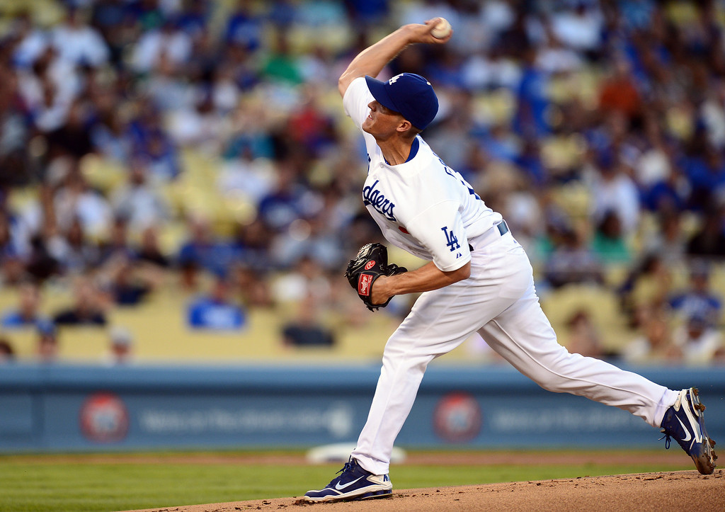 . Dodgers\' pitcher Zack Greinke #21 pitches to the Rockies\' during the first inning at Dodger Stadium Saturday, September 28, 2013. Rockies won 1-0. (Photo by Sarah Reingewirtz/Pasadena Star-News)