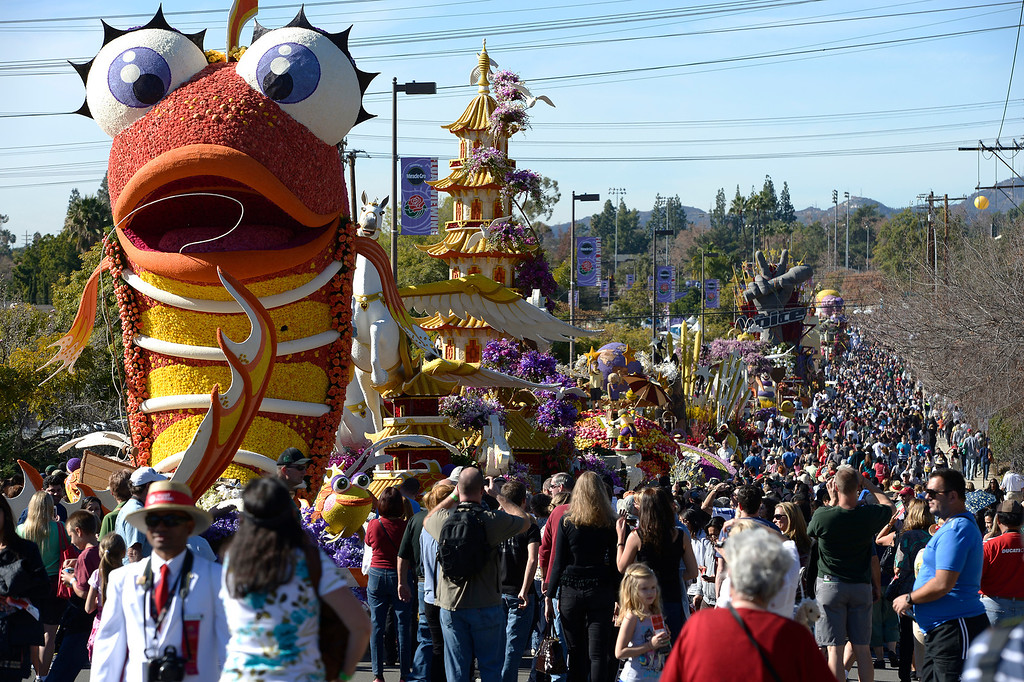 . The Sierra Madre Rose Float looks fishy at the end of a long line of floats. The 125th Rose Parade\'s Showcase of Floats was staged on Sierra Madre Boulevard between Washington Boulevard and Sierra Madre Villa Avenue, and Washington Boulevard between Sierra Madre Boulevard and Woodlyn Road.  Pasadena, CA January 1, 2014.(John McCoy/Los Angeles Daily News)
