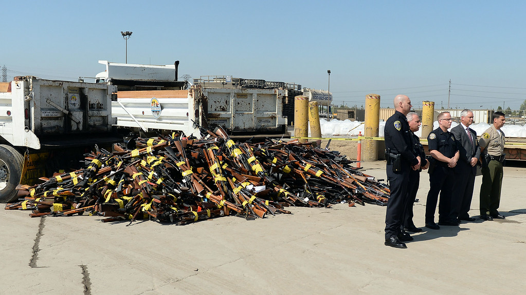 . Approximately 4,700 weapons confiscated amongst 12 Los Angeles County law enforcement agencies were melted down into steel Wednesday August 13, 2014 at Gerdau Steel Mill in Rancho Cucamonga.   (Will Lester/Inland Valley Daily Bulletin)