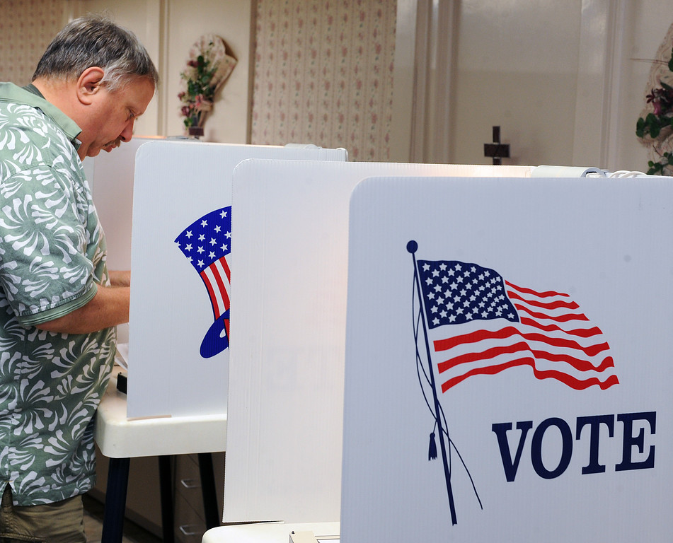 . Early morning Election voting at First Baptist Church Fellowship hall on S. Encionitas Avenue in Monrovia Tuesday, June 3, 2014.(Photo by Walt Mancini/Pasadena Star-News)