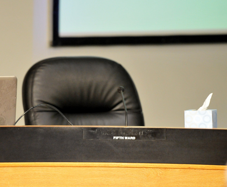 . (John Valenzuela/Staff Photographer) San Bernardino City Council  5th Ward seat was empty at today\'s city council meeting after councilman Chas Kelley resigned and dropped out of the mayoral race last Thursday. Kelley pleading guilty to one count of felony perjury.