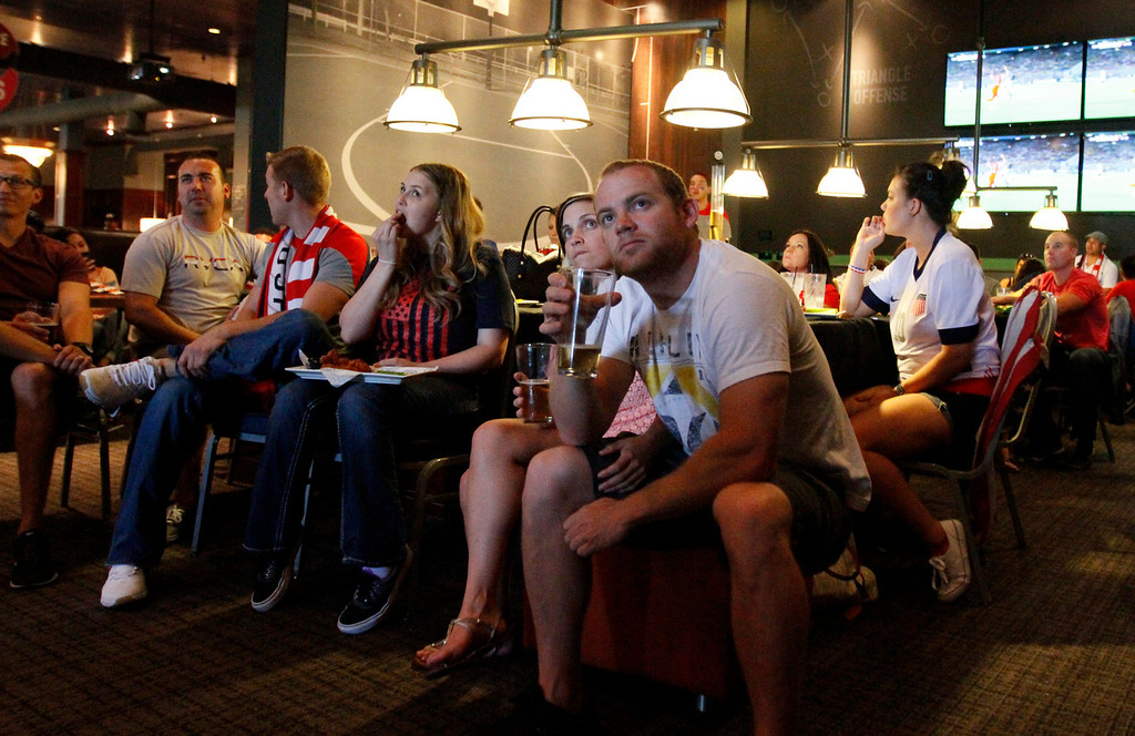 . Fans watch the USA vs Ghana world cup soccer match on Monday, June 16, 2014 at Dave and Busters in Ontario, Ca. (Micah Escamilla/Inland Valley Daily Bulletin)