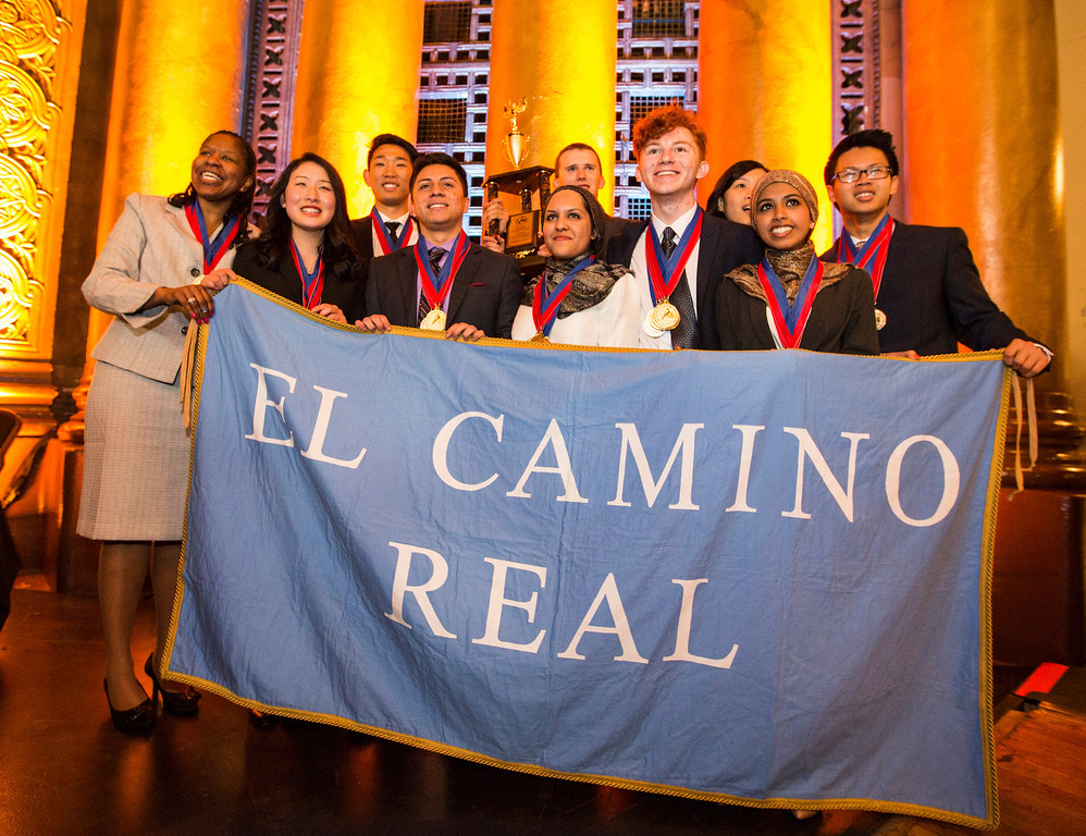 . 1st Place team of the 35th annual California Academic Decathlon from El Camino Real Charter High School\'s (Left to Right) Coach Stephanie Franklin, Melissa Cheng, Eric Yu, Jose Apolaya Neelem Sheikh, Brandon Slater, Rohan Boone, Sandra Vadhin, Thasneem Syed, and Justin Chau, at the 35th annual California Academic Decathlon in Sacramento, California, U.S., on Sunday, March 23 2014. Ken James/LA Daily News